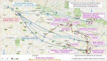 Pèlerinage Inde-Népal VI Amitabha 2017 Périple